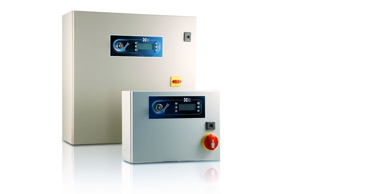 Electrical panel for speed and capacity control in heat exchangers